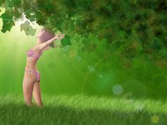 Girl walking in the forest Stock Illustration