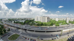 Traffic on the elevated road timelapse overpass on Yaroslavl highway in Moscow Stock Footage