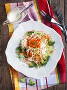 Coleslaw and dressing with mayonnaise and low fat yogurt - stock photo
