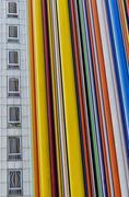 France, Paris, La Defense, Colorful striped facade Stock Photos