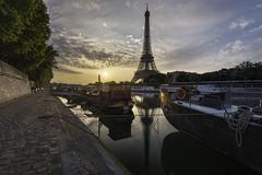 France, Paris, Eiffel Tower at sunset Stock Photos