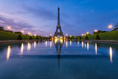 France, Paris, Eiffel Tower at dusk - stock photo
