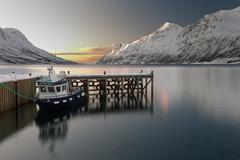 Norway, Aurora Boat in Fjord near Tromsa - stock photo