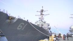 USA Virgina Norfolk, November 2015, USA USS Remage At Harbour Camera Shot Front - stock footage