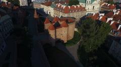 4K Aerial view of the Fortyfikacje staromiejskie, Warsaw Stock Footage