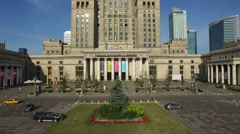 4K Aerial view of cars parked in front of Palace of Culture and Science, Warsaw Stock Footage