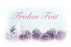 German 'Frohes Fest' (Merry Christmas) with pinecones Stock Illustration