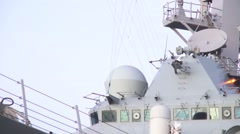USA Virgina Norfolk, November 2015, USA USS Remage Ship Deck Antennas Rotate Stock Footage