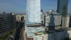 4K Aerial view of Zlota 44 residential skyscraper in Warsaw Stock Footage