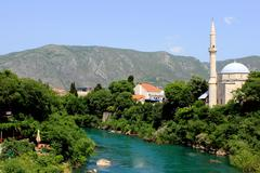 Bosnia and Herzegovina, Mostar, View of old town - stock photo