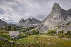 USA, Wyoming, Bridger-Teton National Forest, Pingora Peak and Warbonnet Peak - stock photo