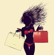 Halftone shopping bikini girl silhouette - stock illustration