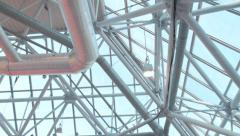 The ceiling of building with a lighting system, air conditioning, ventilation Stock Footage