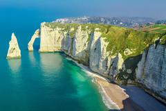 Etretat coastline, Normandy, Seine-Maritime, France Stock Photos