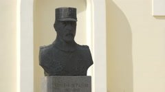 Bust statue of Constantin Prezan in the fortress of Alba Iulia Stock Footage