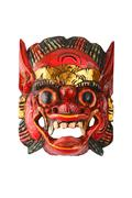 Asian traditional wooden red painted demon mask on white Stock Photos