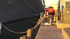 USA Virgina Norfolk, November 2015, USA USS Remage Ship Slacken Ropes - stock footage