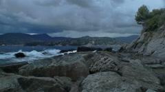Stormy Rock Beach Zoagli Italy - 29,97FPS NTSC Stock Footage