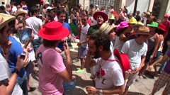 People dancing in flamenco style dress and getting fun at the Malaga Fair - stock footage