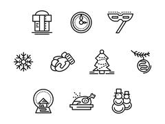 Christmas symbols black line vector icons set Stock Illustration
