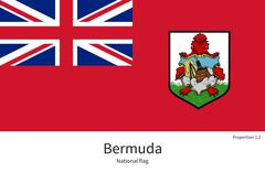 Stock Illustration of National flag of Bermuda with correct proportions, element, colors