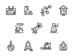 Wintertime black line vector icons set - stock illustration
