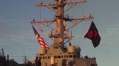 USA Virgina Norfolk, November 2015, USA USS Remage Ship Flags - stock footage