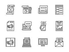 Newsletter black line vector icons set Stock Illustration