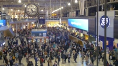 View of the interior of Waterloo station in London Stock Footage