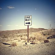 USA, California, One way sign in desert Stock Photos