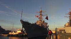USA Virgina Norfolk, November 2015, USA USS Remage Ship Harbour Tag - stock footage