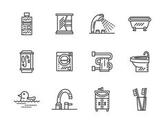 Bathroom black line vector icons - stock illustration