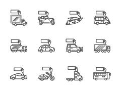 Vehicles sale black line vector icons set - stock illustration