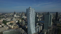 4K Aerial view of Zlota 44 modern skyscraper in the central district of Warsaw Stock Footage