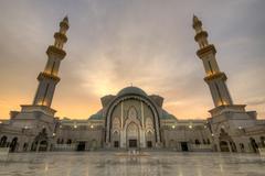 Malaysia, Kuala Lumpur, View of Federal Territory Mosque or Masjid Wilayah - stock photo