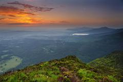 View of sunrise from Torc mountain,  Killarney, County Kerry, Ireland - stock photo