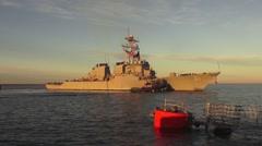 USA Virgina Norfolk, November 2015, USA USS Remage Ship Tag Turns - stock footage