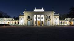 Royal Palace on the Water in Lazienki Park at night Stock Photos