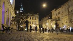 the traffic of people in Europe the night time lapse - stock footage