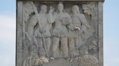Bas-relief on the obelisk of Alba Iulia fortress Stock Footage