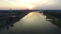 Amazing aerial view of Vistula River and Silesian-Dabrowski Bridge in Warsaw Stock Footage