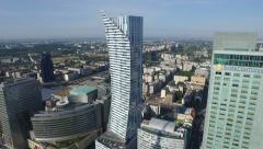 Great aerial view of InterContinental Hotel and Zlota 44  in Warsaw - stock footage