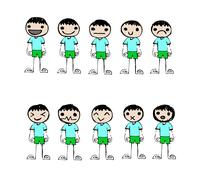 Cute happy cartoon kids - stock illustration