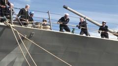 USA Virgina Norfolk, November 2015, US Soldiers Haul Rope Ship Deck USS Bulkeley Stock Footage