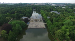 Amazing aerial view of Palace on the Water southern facade in Warsaw Stock Footage