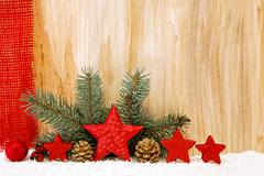 Christmas stars  decoration isolated on wooden. - stock photo