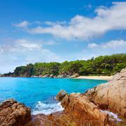 Cala Treumal beach Lloret de Mar Costa Brava - stock photo