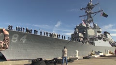 USA Virgina Norfolk, November 2015, USS Bulkeley Drive Away From Peer - stock footage