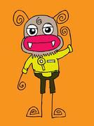 Cartoon cute monsters in Jaidee Family Style - stock illustration