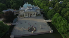 Amazing aerial view of Palac na Wodzie southern facade in Warsaw Stock Footage